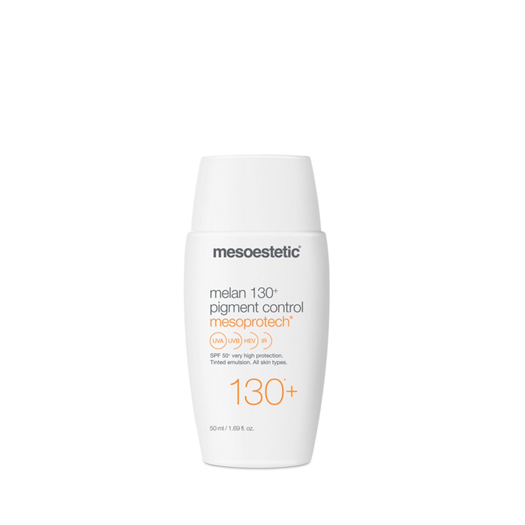 tube med mesoestetic melan 130+ pigment control solcreme 50ml